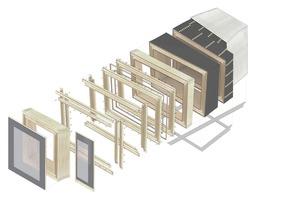 "Montage- und Konstruktionsgrafik des ""Timber Prototype House""Quelle: ICD Universität Stuttgart"