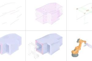 """Die Formgebung des """"Timber Prototype House"""" entstand durch wenige Bezugskurven (oben links), an denen sich die Software orientierte"""