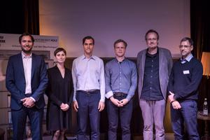 Andreas Lerge, Christina Reimann, Tobias Müller-Nischwitz, Max Rudolph, Taco Holthuizen, Roland Busch (v.l.n.r.) bei der Veranstaltung Dachaufstockung für Entscheider/innen<br />