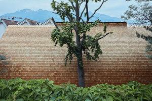 Die Fassade aus Lärchenholzschindeln passt sich gut der geschwungenen Gebäudeform an