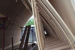 Einblick in die Ebene der Druckstäbe des Dachtragwerks