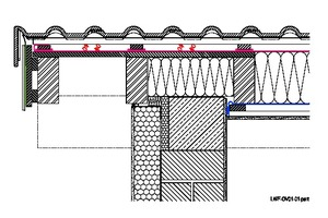 Beim Übergang der Dachdämmung zur Fassadendämmung an der Mauerkrone dürfen keine Wärmebrücken entstehenGrafik: Dörken