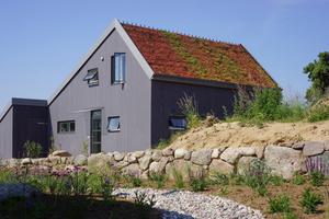 """Versiegelung entgegen wirken: Auch bei relativ steilen Dächern sind mittels Gründachpfannen Begrünungen möglich<span class=""""bildnachweis"""">Foto: agmm Architekten + Stadtplaner</span>"""