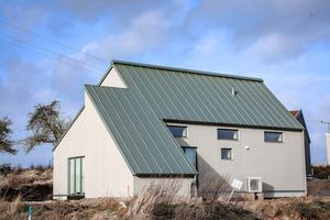 Dieses Haus mit Holzfassade wurde aus einem Guss entwickelt. Auf dem Dach wurde eine Stehfalzdeckung montiertFoto: Matthias Arndt