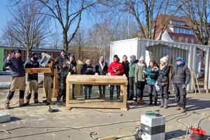 Das Bauteam in Lüneburg mit Studenten der Leuphana-Universität und Mitarbeitern des Vereins Kukuk Kultur<br /><br />