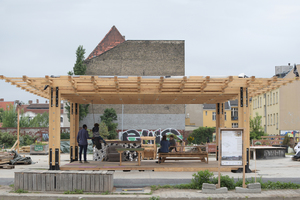 Die Infozentrale auf dem Vollgut-Areal in Berlin-Neukölln erhielt beim Berliner Holzbaupreis den Preis in der Kategorie Konzepte<br />