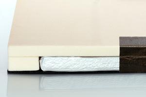 Die seitlichen PU-Dämmstoffränder ermöglichen den Zuschnitt der Platten, ohne dass die Wärmeleitfähigkeit beeinträchtigt wird