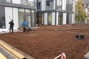 Das Vegetationssubstrat für die extensive Dachbegrünung wird auf dem Dach verteilt