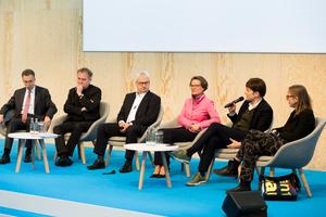 Podiumsdiskussion zur Eröffnung des Forums Zukunft des digitalen Bauens auf der digitalBAU