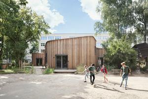 Die Fassade des Kinderhorts besteht aus einer hinterlüfteten Lärchenholzschalung<br />