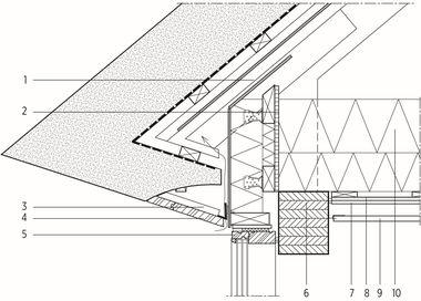 Detail Reetüberhang<br />(von außen nach innen):<br /> 1 Dachaufbau Reet<br />Brandhemmendes Glasfasertuch<br />Dachlatten 38/73 mm<br />Holzlamellen 30 mm<br />Faserzementplatten<br />Dachlatten 38/73 mm 2 Drempelaufbau Sperrholz-Platte 15 mm<br />Konstruktionsvollholz<br />Schichtholzleiste 45/120 mm<br />dazwischen Dämmung 120 mm<br />Faserzementplatte 3 Stahlhalterung mit Holzleisten 4 Holzverkleidung Robinie 5 Holzfenster Eiche, dreifach-Verglasung 6 Leimbinder 7 zweilagige Gipskartonplattenbeplankung 8 Dampfsperre 9 Öko-Akustikdecke 10 Dämmung 345 mm