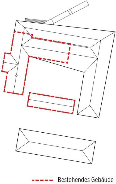 """Der L-förmige Bestandsbau (hier rot) wurde so erweitert, dass ein geschlossener Innenhof entstand. Südlich vom Gebäude entstand ein Neubau für Seminare<span class=""""bildnachweis"""">Zeichnung: Dorte Mandrup A/S</span>"""