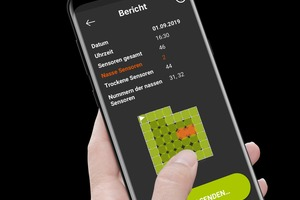 """Die """"Hum-ID""""-App zeigt Lage und Status der Feuchtesensoren. Über die App lassen sich Messergebnisse speichern und versenden"""