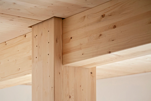 Sichtbare Holzbauteile in einem Berliner Wohnhaus: Die Landesbauordnung Berlin ermöglicht sichtbare Holzoberflächen in Gebäuden der Gebäudeklasse 5