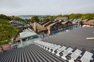 Auf einem der Dächer wurde ein Velux-Lichtband im Firstbereich eingebaut. Ein neu auf den Dachflächen montierter Laufweg für Wartungszwecke führt zum Lichtband