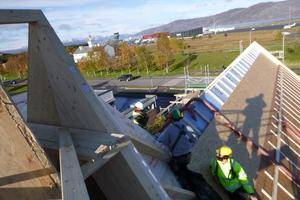 Das Dach wurde mit einer Holzfasereinblasdämmung gedämmt