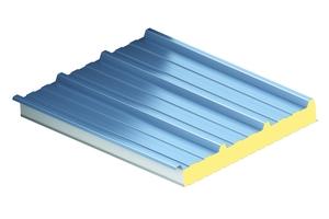 """Das trapezprofilierte Sandwichelement """"KS1000 RW"""" hat einen IPN-Dämmkern und eignet sich für Dachneigungen ab sieben Grad"""