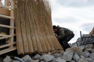 Eindeckung der Hütte mit Reetbunden