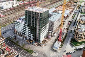 Luftaufnahme des SV-Büro- und Wohnensembles Glücksteinallee 25-35 vom September 2019