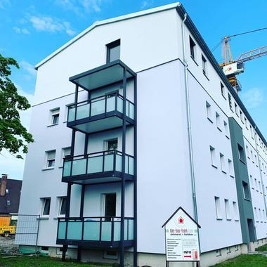 Eines der aufgestockten Wohnhäuser in Unterschleißheim nach der Aufstockung