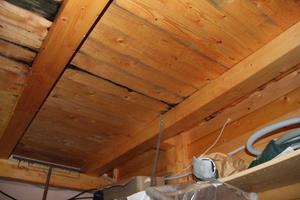 Über die alte Dachabdichtung drang Feuchtigkeit in die Decke und den Raum unter dem Carport ein