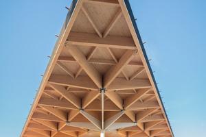 Großformatige Holztragwerke demonstrieren die Leistungsfähigkeit des Holzbaus, so wie das Tragwerk des neuen Dachs des Bahnhofs in Assen<br />