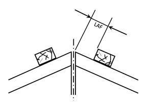 Der Lattenabstand für die Firstanschlussziegel am First (LAF) wird auf die Dachneigung abgestimmt<br />