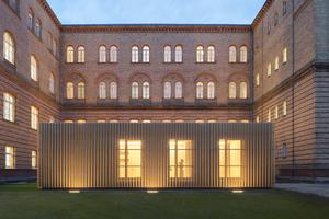 Anerkennung 3: Für die Universität der Künste Berlin konzipierten TRU Architekten schallemissionsfreie Übungsboxen. Diese erhielten eine einheitliche, transluzente Fassade aus perforiertem Lochblech