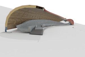 Das Dach wird aus verleimten, gekrümmten Sperrholzschalen erstellt
