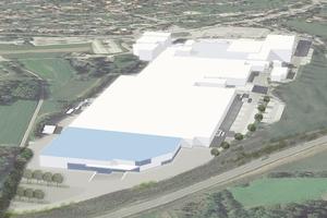 Luftbild der Homag-Unternehmenszentrale in Schopfloch mit dem geplanten Hallenanbau in Blau