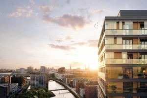 """Das Holz-Hybrid-Hochhaus """"Roots"""" entsteht in der Hamburger Hafencity und soll 2023 fertiggestellt sein<br />"""
