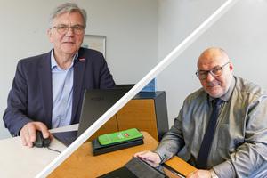 Peter Eul, Präsident der Handwerkskammer Ostwestfalen-Lippe zu Bielefeld (r.), und Wolfgang Borgert, dem stellvertretenden Hauptgeschäftsführer der Handwerkskammer, berichteten über die Stimmungslage im OWL-Handwerk.