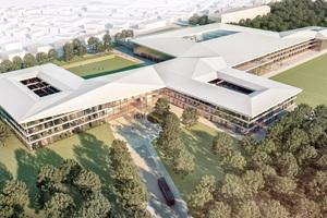 So soll die neue DFB-Zentrale in Frankfurt am Main nach der Fertigstellung aussehen