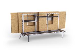 """Die Ladehilfe """"H-Bock"""" ist in 7,45 und 9 m Länge erhältlich und eignet sich für den Transport von Holzwandelementen"""