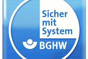 """Darüber hinaus belegt das durch die BGHW verliehene Gütesiegel """"Sicher mit System"""" den innerbetrieblichen Arbeitsschutz des Unternehmens."""