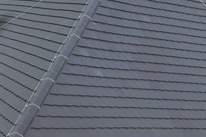 """Der Dachfirst wurde mit der Firstrolle """"Metallroll"""" gegen Flugschnee und Regeneintrieb abgedeckt. Den """"Linienfirst N"""" schraubten die Dachdecker mit Edelstahlschrauben fest<br />"""