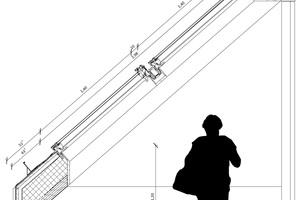 Die Zeichnung zeigt den Anschluss eines Klapp-Schwing-Fensters im Steildach<br />