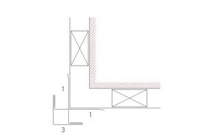 Detailzeichnung für eine Außenecke 1) Taschenprofil 3) Außenecke<br />