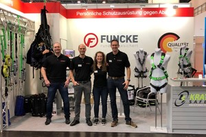 Das Team von Funcke Sicherheitssysteme wird auf der Messe A+A in Düsseldorf im Oktober 2021 Produkte zur Absturzsicherheit zeigen. Zum Sortiment gehören Auffanggurte, Höhensicherungsgeräte, Verbindungsmittel und mehr<br />