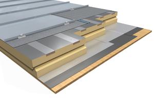 """Veranschaulichung der """"Puren Metal Fix""""-Dämmelemente für Metalldeckungen. Die Haften für die Metalldeckung werden in den integrierten Furnierschichtholzleisten in den Dämmplatten befestigt <br />"""