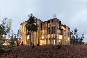 Das neue Verwaltungsgebäude der Ziegler Group in Plößberg: Vor der Fassade wurden 19m hohe Holzstämme errichtet