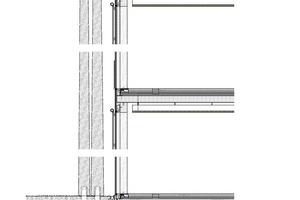 Querschnitt der Fassadenkonstruktion des Verwaltungsgebäudes, ohne Maßstab