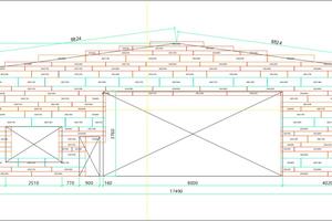 """Verlegeplan für ein Objekt mit verschiedenen Öffnungen, wie es Prefa für den Anwender erstellt. Gleiche Farben bedeuten die gleiche """"Siding""""-Abmessung"""