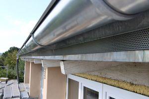 Das Wasser von der Unterdeckbahn wird über ein Tropfblech unter der Dachrinne abgeleitet