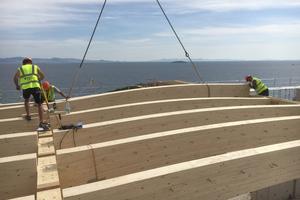 Das Dachtragwerk wird von Primärträgern aus Eiche und Baubuche mit dazwischen gespannten Sekundärträgern aus Fichte gebildet