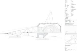 """Längsschnitt mit Rampe, Fachwerkbrücke, Kirchenbau und Kuppel, ohne Maßstab<span class=""""bildnachweis"""">Quelle: schneider+schumacher</span>"""