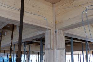 """Der Holzskelettbau des """"House of Natural Resources"""" auf dem Gelände der ETH in Zürich besteht aus Fichten-BS-Holz-Trägern mit lokaler Laubholzverstärkung aus Esche auf der Unterseite, die Stützen sind komplett aus Eschenholz. Die Träger werden über Vorspannkabel stumpf gegen die durchgehenden Stützen verspannt. Laubholz wurde da eingesetzt, wo höhere mechanische Belastungen auftreten<span class=""""bildnachweis"""">Foto: Susanne Jacob-Freitag</span>"""