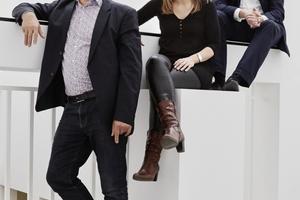 """Die """"Macher"""" des Deutschen Pavillons auf der 15. Architekturbiennale in Venedig (von links nach rechts): Peter Cachola Schmal, Anna Scheuermann und Oliver Elser  <br />"""