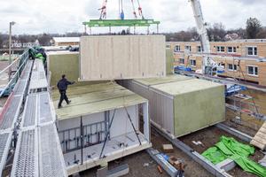 Hier montieren die Zimmerleute des Holzbauunternehmens LiWood in München Wandelemente für die Raummodule von Flüchtlingsunterkünften. Gebaut sind sie nach Plänen des Büros Gerstberger Architekten