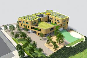 """Animation des Gesamtgebäudes Maison relais """"Op Hudelen"""" in Schifflange <span class=""""bildnachweis"""">Grafik: Alleva Enzio Architekten </span>"""